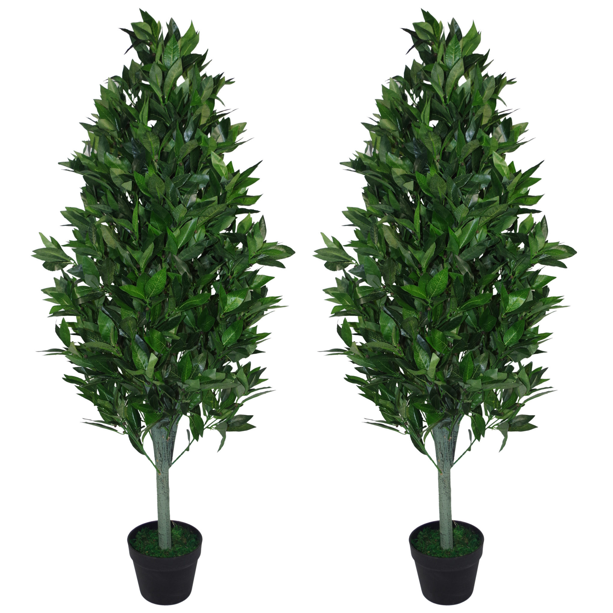Pair Of 120cm 4ft Artificial Topiary Bay Trees Pyramid Cones Extra Large Leaf Artificial Plants
